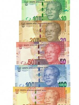South Africa 2012 5-note set 10-200 rand UNC (#18)