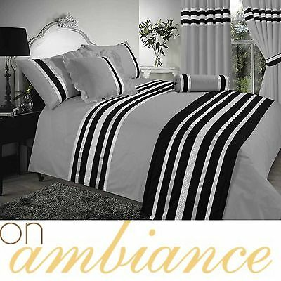 Grey & Black Colour Stylish Lace Diamante Duvet Cover Luxury Beautiful Bedding