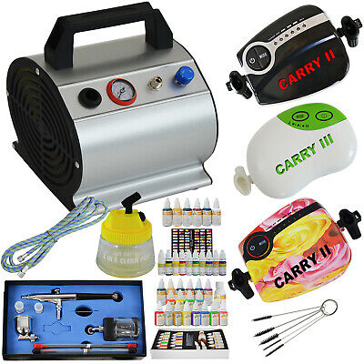 Airbrush Set Mini Kompressor Kit Komplett Set Airbrush Pistole Farben Schablonen