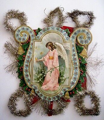Vintage 1800's Victorian Antique Die Cut Ornament w/ Angel, Butterflies & Bells*