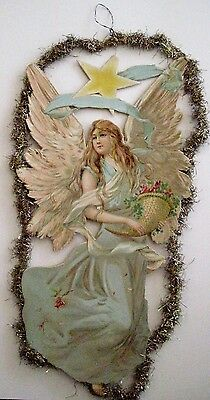 Vintage 1800's Victorian Antique Die Cut Ornament w/ Angel & Star *