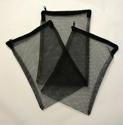 Aquarium ZIPPED Filter Media Net Bag fish tank zip up filter bags 26 x17cm Black