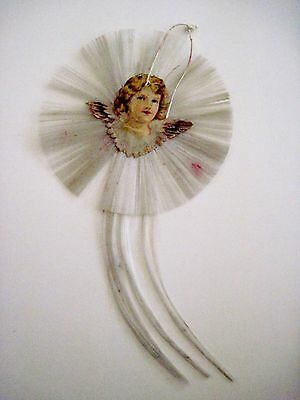 Vintage 1800's Victorian Antique Double-sided Die Cut Ornament w/ Sweet Angel *
