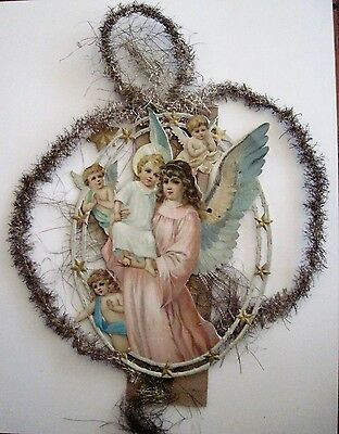 Vintage 1800's Victorian Antique Die Cut Ornament w/ Angel Holding Baby Jesus *
