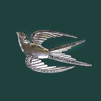 1950s Inspired Sterling Silver Flying Swallow Bird Brooch Pin Set with Marcasite