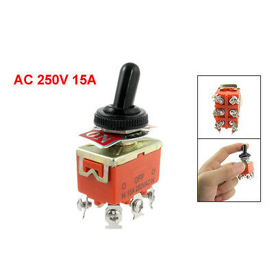 New 15A/250VAC on/off/on 3 Position DPDT Toggle Switch with Waterproof Boot