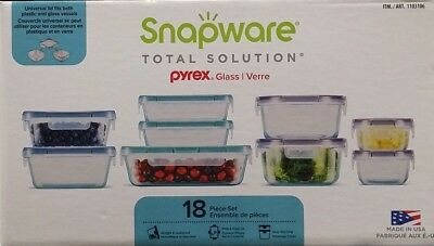 SNAPWARE PYREX Glass Storage Food Containers Lids 18 Pieces Kitchen Set NEW