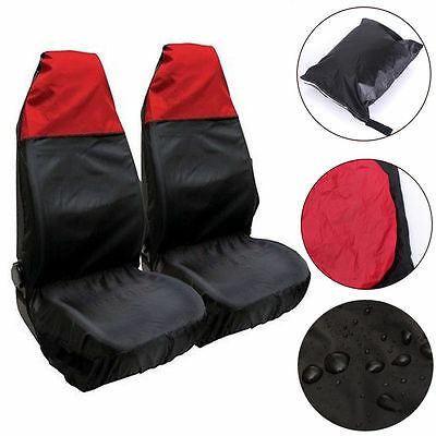 2x Universal Waterproof RED/BLACK Front Seat Covers/Protectors for Car/Van Seats