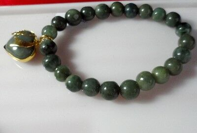 Green Jade Bracelet Pendant Buddha Powerful Stone Thai Amulet Wealth lucky Gift