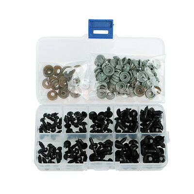 New 100pcs Black Plastic 6-12mm Safety Eyes For Teddy Bear Doll Puppet Crafts
