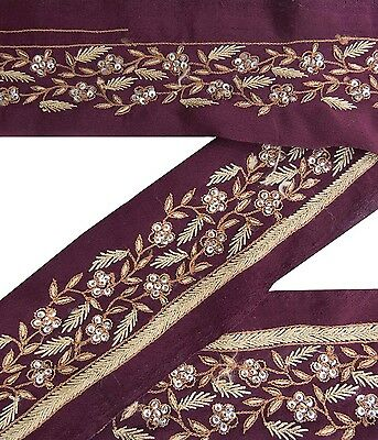 Vintage Sari Border Antique Ribbon Used Embroidered Indian Trim Plum Lace 1YD