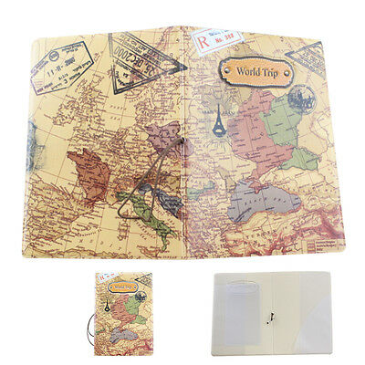 Faux Leather World Map Passport Cover Holder Excellent Organizer Trip Card Case