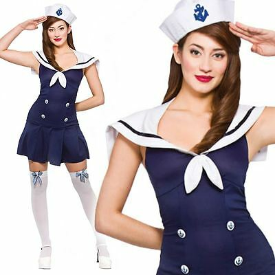 Ladies Ahoy Sailor Girl Costume Adult Navy Fancy Dress Womens Nautical Outfit