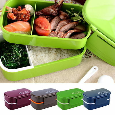 New Portable 2 Layers Bento Lunch Box Plastic Food Container Lunch Container#L