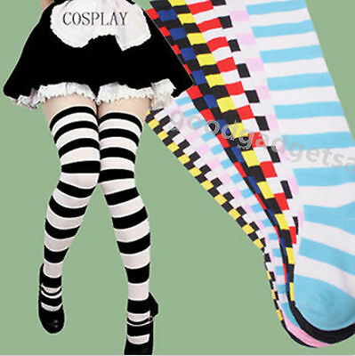 Fashion Women Girl Thigh High Striped Over the Knee Socks Cotton Stockings Hot