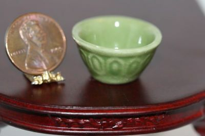 "Dollhouse Miniature Ceramic Green Glazed ""Vintage Look"" Mixing Bowl"