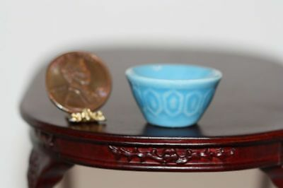 "Dollhouse Miniature Ceramic Blue Glazed ""Vintage Look"" Mixing Bowl"