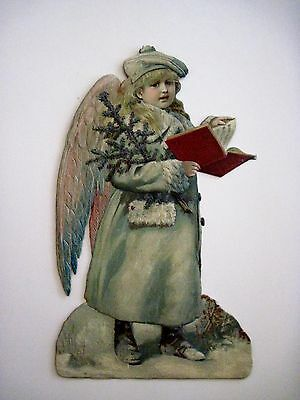 Vintage Victorian Antique Christmas Die Cut Angel w/ Song Book *