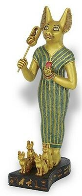 Bastet Egyptian Goddess with Sistrum and Kittens Stattue 8.5H E-333GP