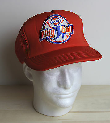 e9cc824435b Vintage GULF OIL Play Ball Promo Hat Trucker Mesh Snapback Baseball