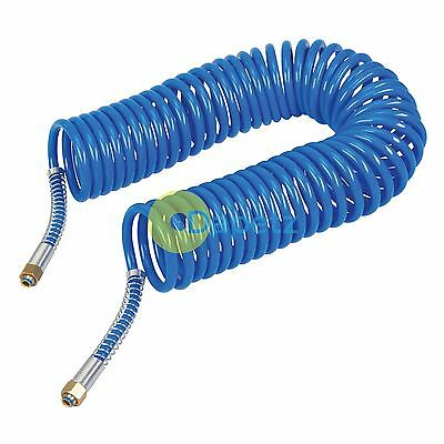 "Coiled Air Hose 10M Air Tools Hose With 1/4"" BSP Female Nut End Fittings 10 Bar"