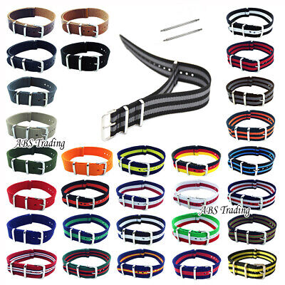 Watch Strap Band Army Military Divers Nylon NATO G10 Mens 18mm 20mm 22mm 24mm