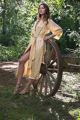 100% Silk, Women's Long Robe/wrap with Shawl Collar - Empress Gold
