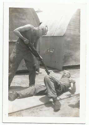 Original US WW2 Photo of Marines Staging a Fight with M1 Garand and Bayonet