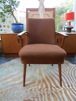 A Brown East German Single Cocktail Armchair C1970 Original Condition