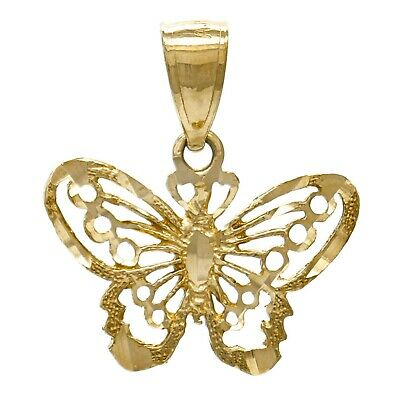 1f42110aa 14K YELLOW GOLD Solid Diamond Cut Butterfly Charm Pendant 2grams ...