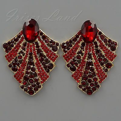 18K Gold Plated GP Ruby Red Crystal Rhinestone Drop Dangle Stud Earrings 00488