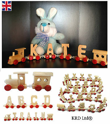 Personalised Kids Wooden Train Letters Scrabble Alphabet Children Baby Toy Gift