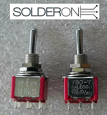 2pcs Mini Toggle Switch DPDT Centre Off Mom/Lock SALECOM S1375