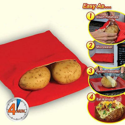 Potato Express Baking Bag Microwave Fast Cooker in 4 mins! Red Reusable Washable