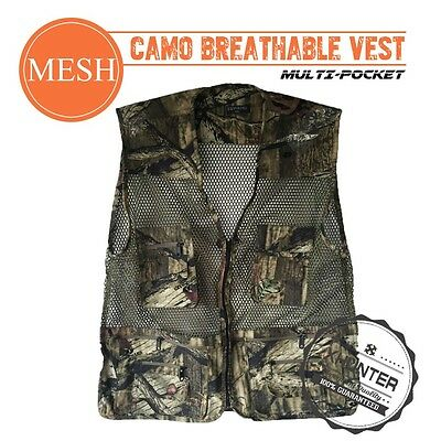 Xhunter Camo Mesh Vest Breathable Multiple Pockets Hunting Fishing Camping Wear