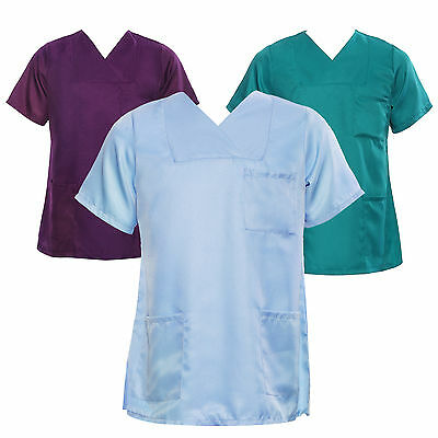 Womens Nurses Healthcare Carer Tunic Hospitality Medical Scrub Top Uniform Work