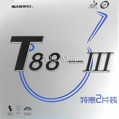 2x Sanwei T88-III (A Pair Rubber in a box) Pips-in Table Tennis Rubber