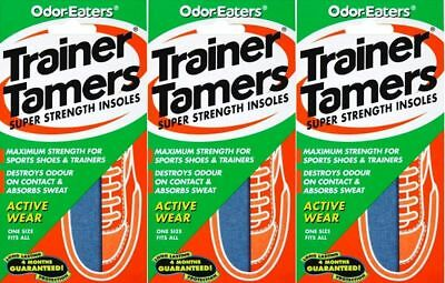 3 x ODOR-EATERS TRAINER TAMERS SUPER STRENGTH INSOLES.WASHABLE GOOD VALUE