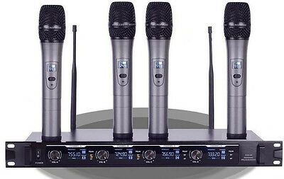 New 4x100 Channel UHF Wireless Handheld Microphone System H-05 for shure type