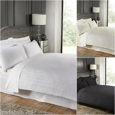 Seersucker Luxury Duvet Cover With Pillow Case Bedding Quilt Cover set All Sizes