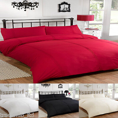 Luxury Pintuck T200 Percale Duvet Cover With Pillow Case Bedding Quilt Cover Set