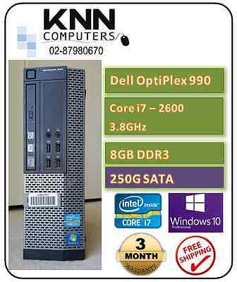 Dell Optiplex 990 Core i7 2600 SFF 3.4 GHz 8GB 250G SATA W10Pro COA Affixed
