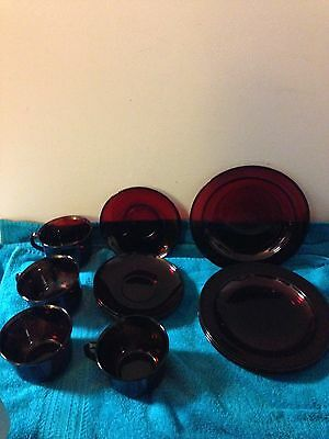 Red Ruby dish set with coffee/tea cups for four.