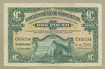 GIBRALTAR - £1  1942  P15b  About VF  ( Banknotes )