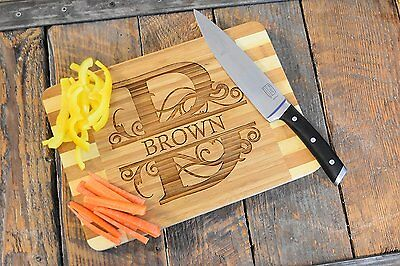 Custom Laser Engraved Bamboo Wood Cutting Board - Choose ANY letter & Name