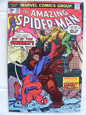 Amazing Spider-Man #139 Marvel Bronze Age Dec 1974 Cents Copy The Grizzly