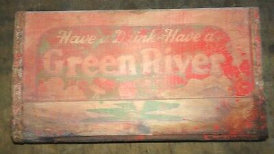 Rare Green River Beverage Wooden Crate Syrup Carrier
