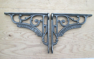 "7"" PAIR of J DUCKETT antique Vintage cast iron shelf bracket Sink Toilet Cistern"