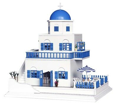 Wooden Dollhouse Miniature DIY Dolls House Kit With Furniture+Music--Santorini