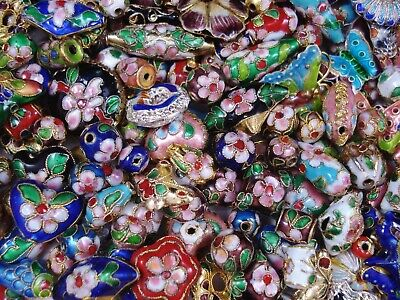 Cloisonne Beads Mix 50g Asst Shapes Jewellery DIY Jewelry Spacers FREE POSTAGE